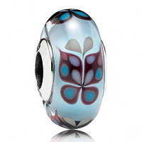 Подвеска-шарм Голубая бабочка  муранское стекло
