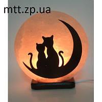 Соляной светильник «Коты на Луне»