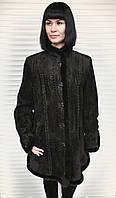 Кожаная женская куртка с мехом норки  размер+