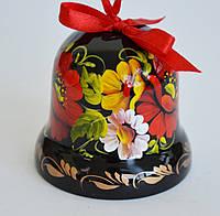 Украинский сувенир Колокольчик деревянный Петриковская роспись Яркие маки