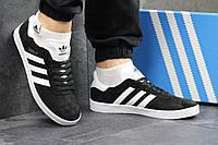 Кроссовки мужские Adidas Gazelle (черные), ТОП-реплика, фото 1