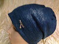 Зеленая шапочка двойная с накатом присборенная сзади, фото 1