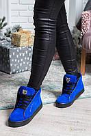 Женские модные ботинки из натуральной кожи/замши с натуральным мехом (2 цвета)