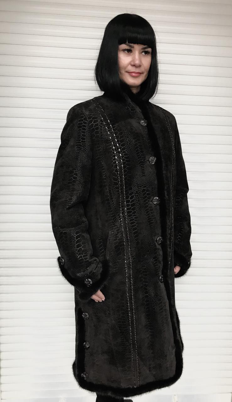 Плащ-пальто женское кожаное на заячьей подстежке