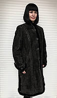 Плащ-пальто женское кожаное на заячьей подстежке, фото 1