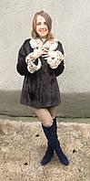 Шуба норковая со вставками рыси Модель Л2002400