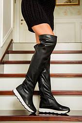 Женские красивые демисезонные кожаные ботфорты