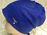 Синяя шапочка двойная с накатом присборенная сзади, фото 1