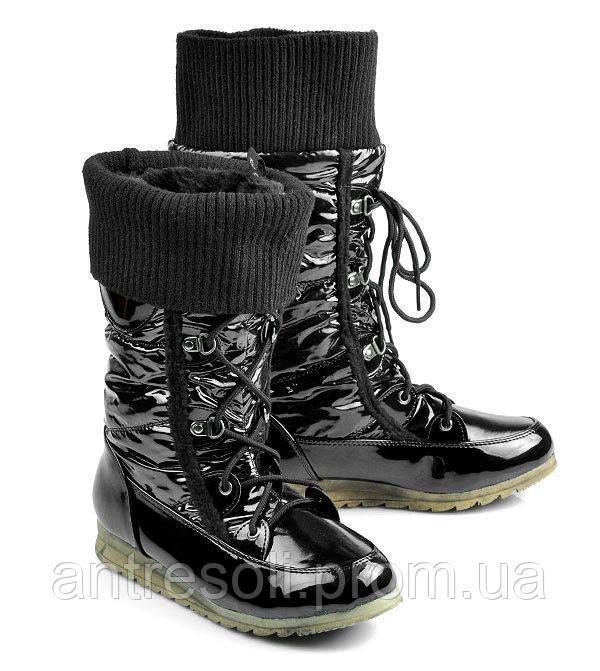 Сапоги зимние женские черные дутики С478 р 38 39 38