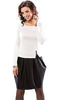 Стильное молодежное платье черно-белого цвета с длинным рукавом. Модель 18033 Enny коллекция осень-зима 2015