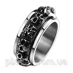 Кольцо нержавеющая сталь с черепами Костница