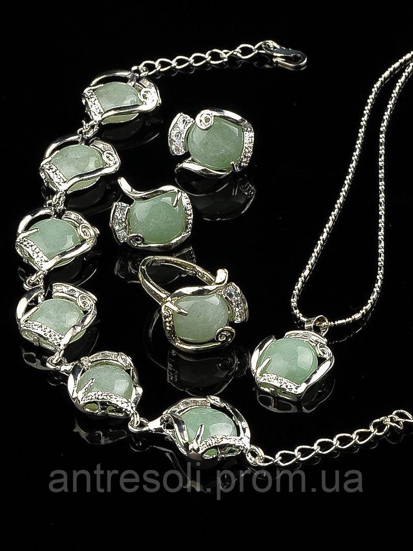 Комплект Нефрит серьги, подвеска, кольцо и браслет код 1314
