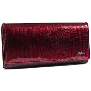 Изысканный женский кожаный кошелек с лакированным покрытием красный AL-AE150-JR