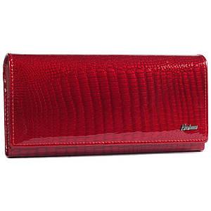 Изящный женский кожаный кошелек красного цвета с лакированным покрытием AL-AE652150-RED