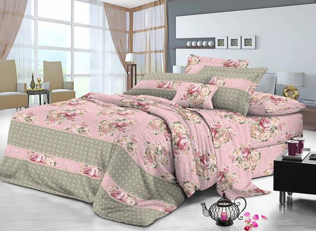 Двуспальный комплект постельного белья евро 200*220 сатин (9025) TM KRISPOL Украина, фото 2