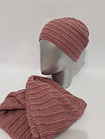 Женский комплект шапка и снуд на флисе 2782