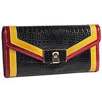 Модный женский кожаный кошелек черный с лакированным покрытием и контрастной отделкой AL-AE652450-BL