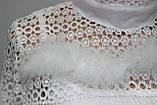 Кофточка ажурная женская декорированная пухом, белая, фото 5