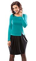 Молодежное платье тюльпан черно-зеленого цвета с длинным рукавом. Модель 18033 Enny коллекция осень-зима 2015