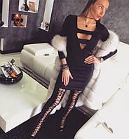 Платье короткое с фигурным вырезом и длинным рукавом 119871
