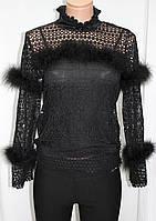 Кофточка ажурная женская декорированная пухом, черная, фото 1