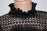 Кофточка ажурная женская декорированная пухом, черная, фото 5