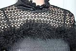 Кофточка ажурная женская декорированная пухом, черная, фото 6