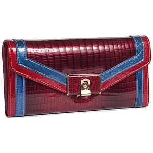 Стильный женский кожаный кошелек красный с лакированным покрытием и контрастной отделкой BETH CAT AL-AE450-JR