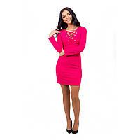 Женское платье со шнуровкой розовое, фото 1