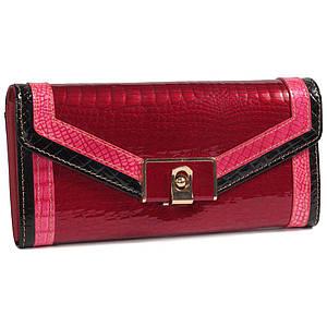 Красивый женский кожаный кошелек красный с лакированным покрытием и контрастной отделкой BETH CAT AL-AE450-RED