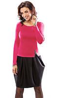 Стильное платье-тюльпан черно-розового цвета с длинным рукавом. Модель 18033 Enny коллекция осень-зима 2015