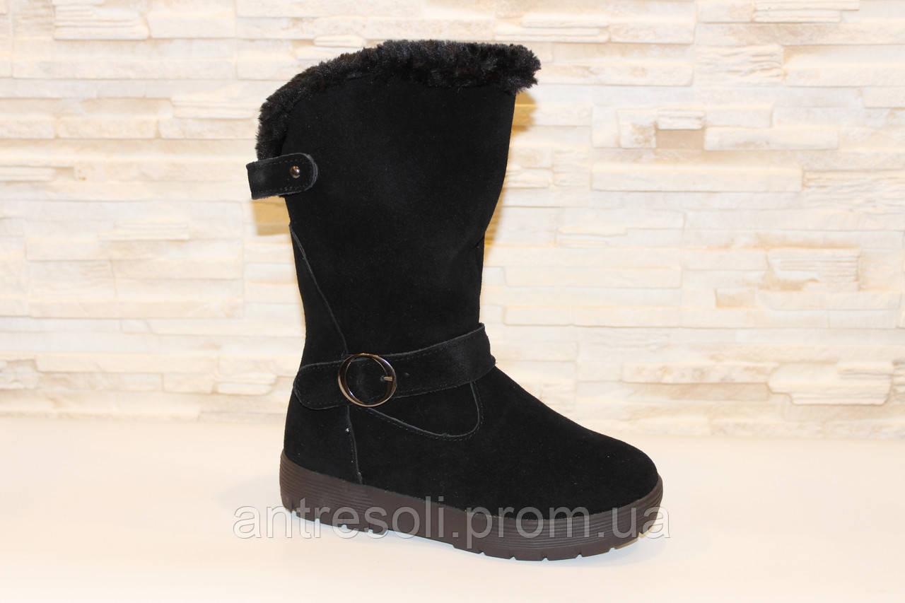 Сапоги женские зимние черные замшевые С600 р 35 35
