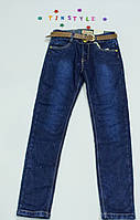 Синие  теплые  брюки на флисе на девочку, фото 1