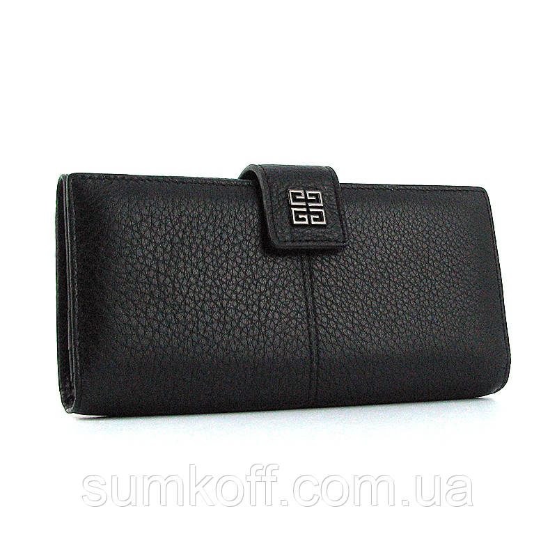Черный женский кошелек Givenchy 6287 кожаный на кнопке из натуральной кожи