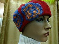 Береты TONAK  из мягкой шерсти с цветком, набивными цветочками персиковый с голубым тоном, фото 1