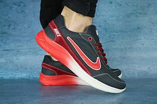 Мужские кроссовки Nike темно синие с красным,кожаные