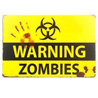 Металлическая табличка-постер: Осторожно! Зомби!