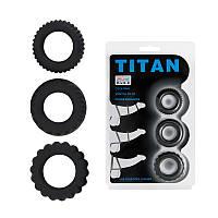 Набор из 3 эрекционных колец, имитирующих автомобильные шины Titan