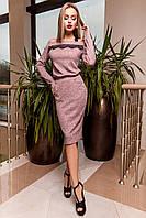 Женское платье Моратти розовое с длинным рукавом и кружевом