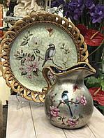 Кувшин и настенная тарелка Птица с бабочками