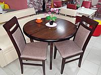 Стол круглый Элис орех 100(+40)*100 обеденный раскладной деревянный