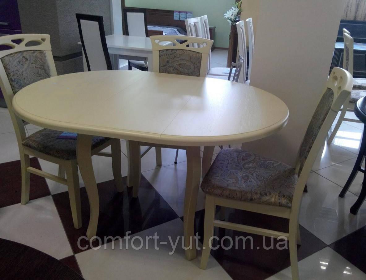 Стол круглый Элис бежевый 100(+40)*100 обеденный раскладной деревянный