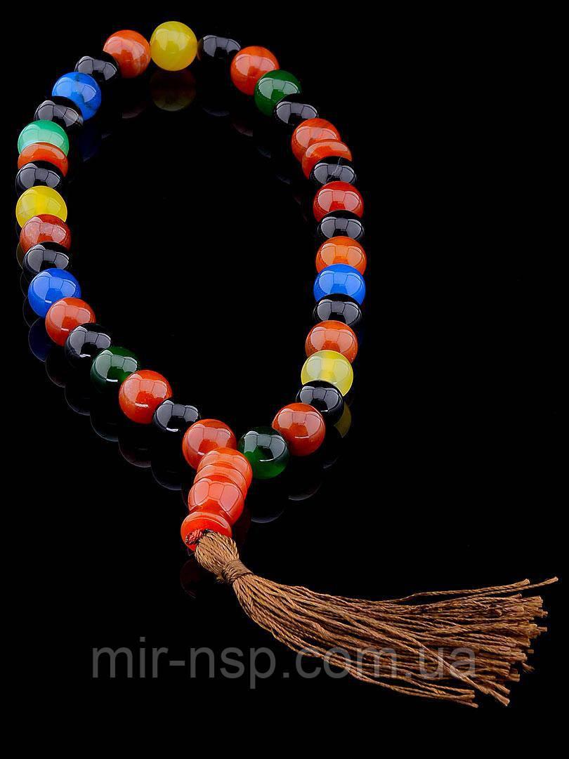 Четки 33 бусины натуральный агат разноцветный (не пресс) 12мм
