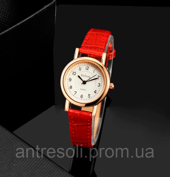 Наручные женские часы с красным ремешком код 337