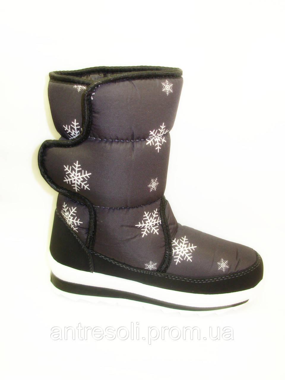 Дутики зимние женские черные снежинки С522 р 40 40