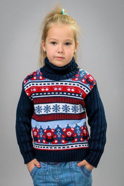 Вязаный свитер с орнаментом унисекс
