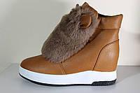 Женские зимние ботинки-угги коричневые с меховой опушкой/ушки. Распродажа!!!