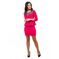 Женское мини платье с баской розовое, фото 1