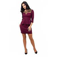 Женское мини платье с баской бордовое