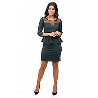 Женское мини платье с баской зеленый